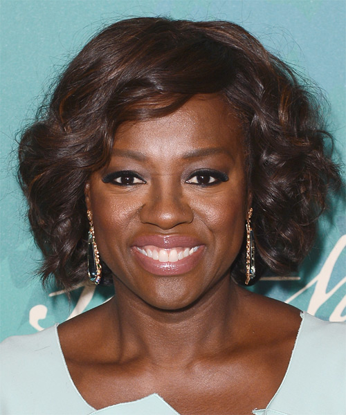 Viola Davis Medium Wavy Formal    Hairstyle   -  Chocolate Brunette Hair Color
