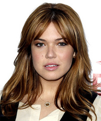 Mandy Moore Long Straight Casual    Hairstyle with Layered Bangs  - Light Brunette Hair Color