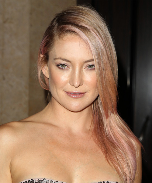 Kate Hudson Long Straight Casual    Hairstyle   -  Strawberry Blonde Hair Color