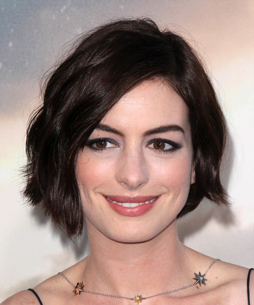 Anne Hathaway Short Straight   Dark Chocolate Brunette   Hairstyle with Side Swept Bangs