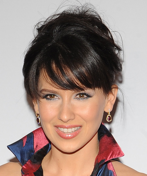 Hilaria Baldwin Long Straight Casual Wedding Updo Hairstyle with Side Swept Bangs  - Black