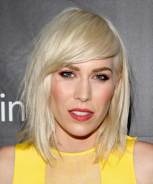 Natasha Bedingfield Medium Straight Casual    Hairstyle with Side Swept Bangs  - Light Platinum Blonde Hair Color