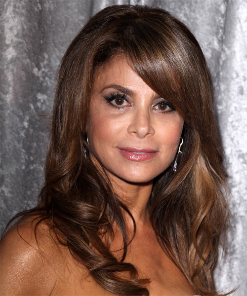 Paula Abdul Long Wavy    Chocolate Brunette   Hairstyle with Side Swept Bangs