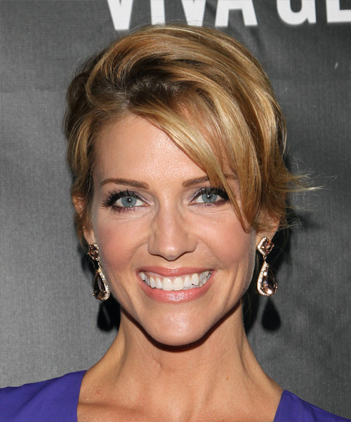 Tricia Helfer Long Straight Formal Wedding Updo Hairstyle   - Dark Blonde