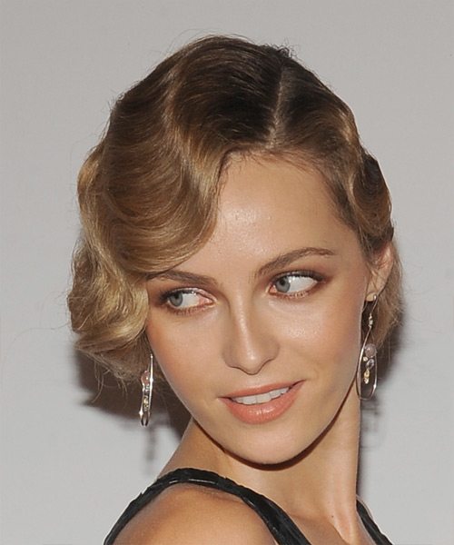Valentina Zelyaeva Long Wavy Formal   Updo Hairstyle   - Dark Blonde Hair Color