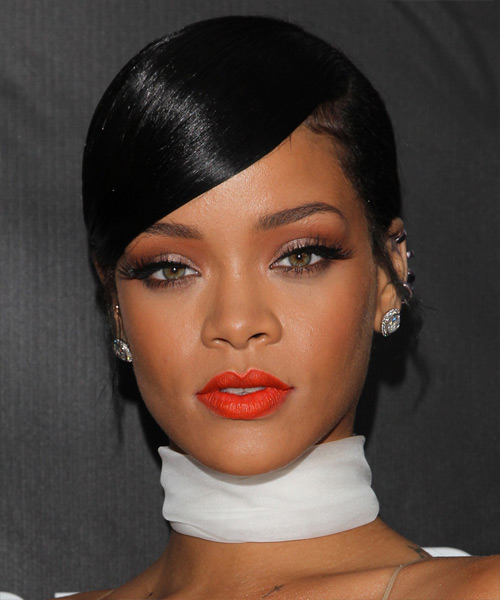 Rihanna Long Straight Black Updo - Hair Color suitable for Warm Skin Tones