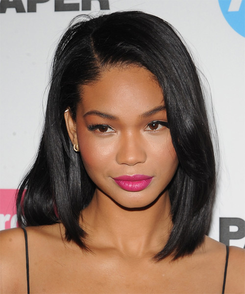 Chanel Iman Medium Straight Hairstyle.