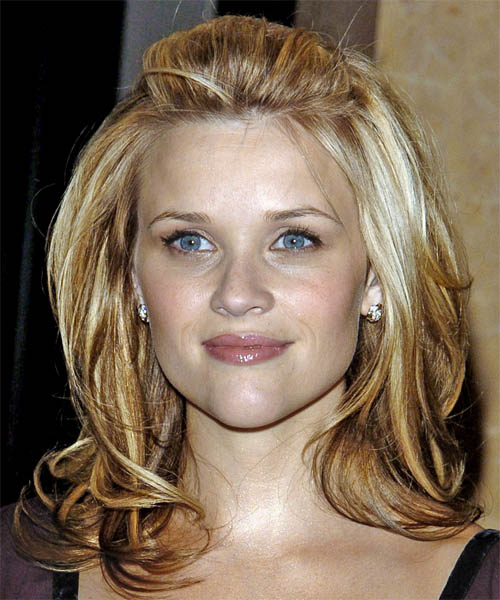 Reese Witherspoon  Long Straight Casual   Half Up Hairstyle