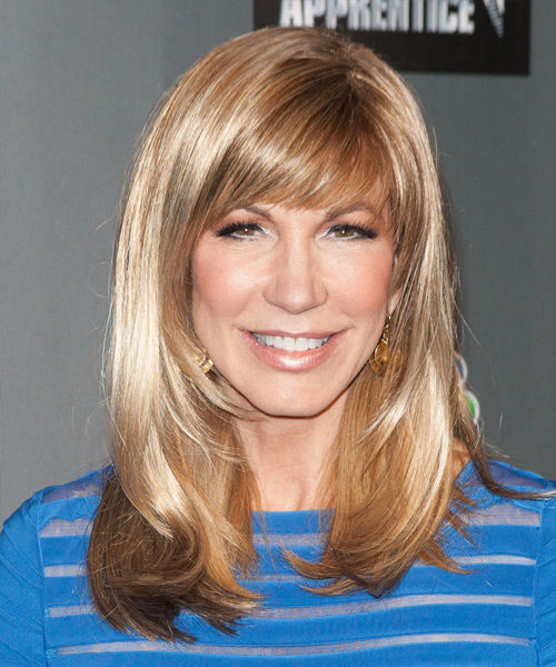 Leeza Gibbons Long Strawberry Blonde side-parted Hairstyle