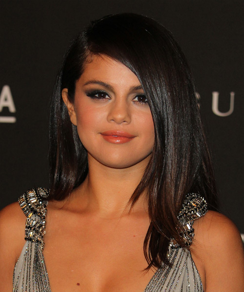 Selena Gomez Long Black side-parted Hairstyle