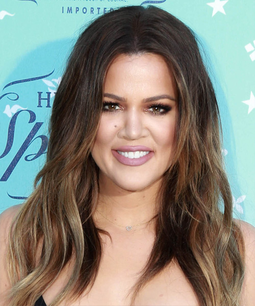 Khloe Kardashian Long Straight Casual    Hairstyle   - Dark Chestnut Brunette Hair Color
