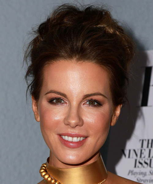 Kate Beckinsale Long Wavy Formal Wedding Updo Hairstyle   - Dark Brunette