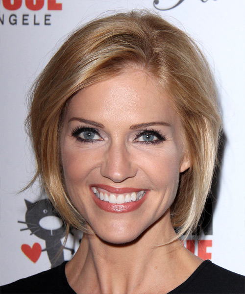 Tricia Helfer Medium Straight Casual    Hairstyle   - Dark Honey Blonde Hair Color