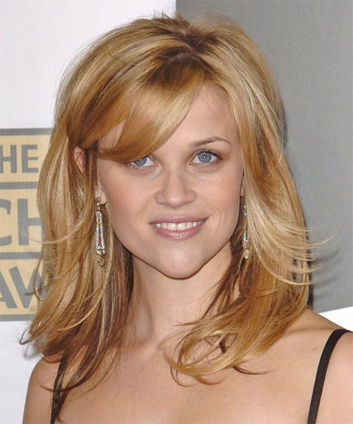 Reese Witherspoon Long Straight Formal Hairstyle With Side Swept Bangs Dark Blonde Copper