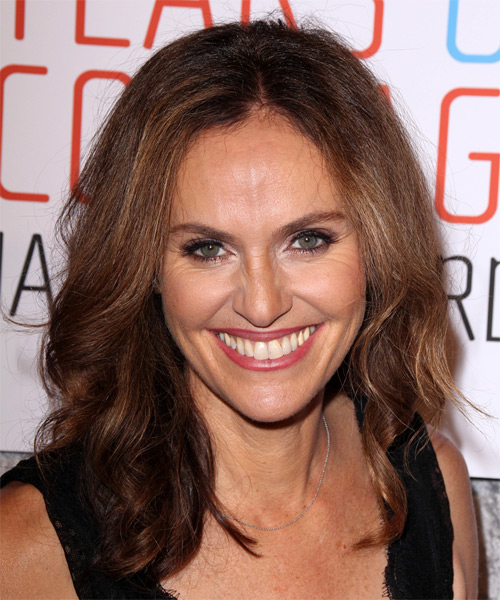 Amy Brenneman Long Wavy Casual   Hairstyle   - Medium Brunette (Auburn)
