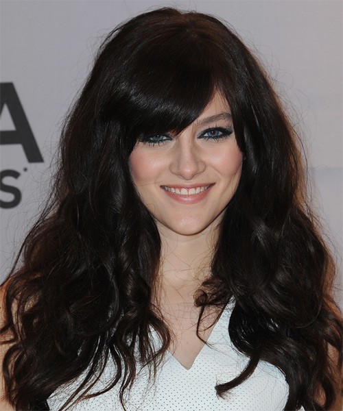 Aubrey Peeples Long Wavy Casual    Hairstyle with Side Swept Bangs  - Black  Hair Color