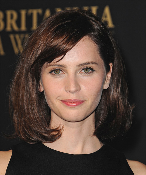 Felicity Jones Medium Straight    Brunette   Hairstyle