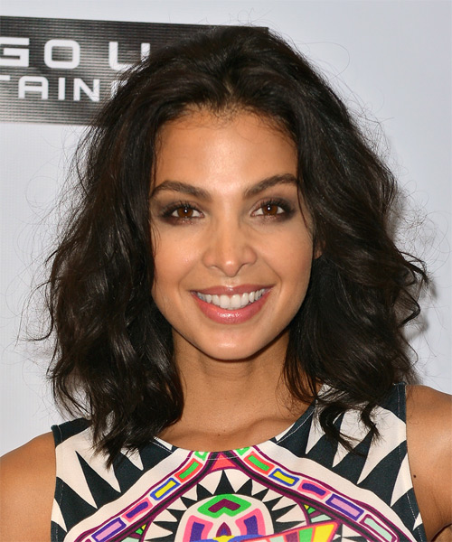 Felisha Terrell Medium Wavy Casual    Hairstyle   - Dark Brunette Hair Color