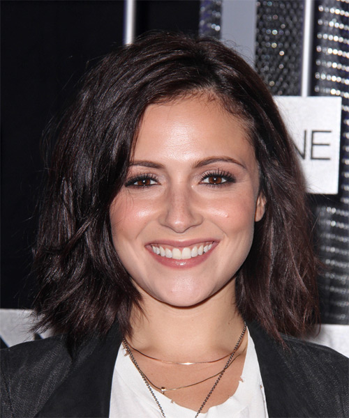 Italia Ricci Medium Straight Casual    Hairstyle   - Dark Plum Brunette Hair Color