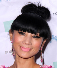 Bai Ling Long Straight Casual   Updo Hairstyle with Blunt Cut Bangs  - Black  Hair Color