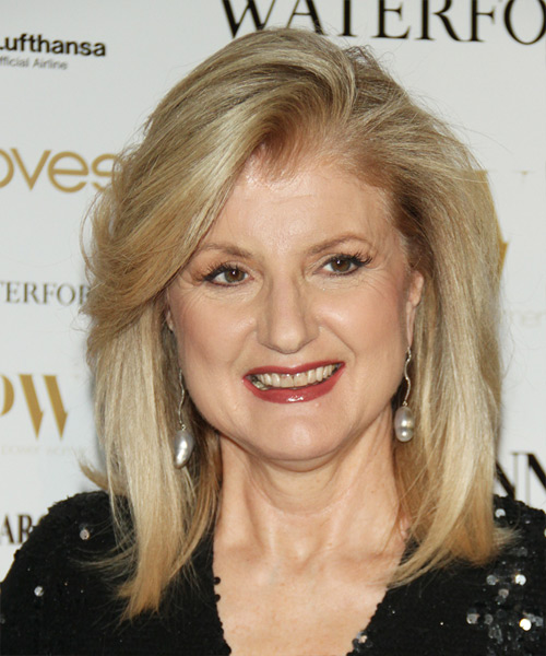 Arianna Huffington Medium Straight Formal   Hairstyle   - Light Blonde