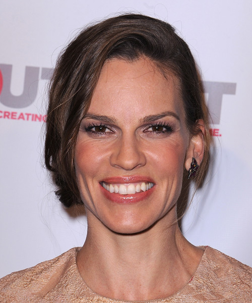 Hilary Swank Long Straight Casual   Updo Hairstyle   -  Chocolate Brunette Hair Color