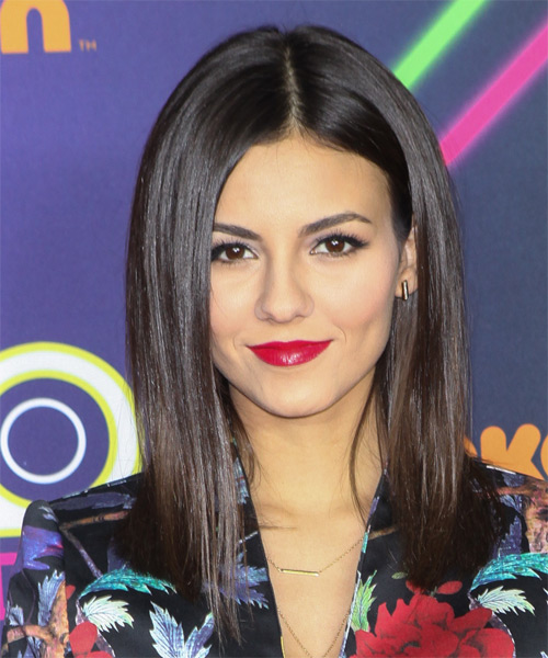 Victoria Justice Long Straight Formal   Hairstyle   - Dark Brunette