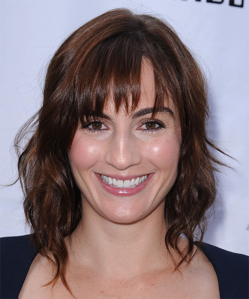 Alison Haislip Medium Wavy Casual    Hairstyle with Layered Bangs  -  Brunette Hair Color