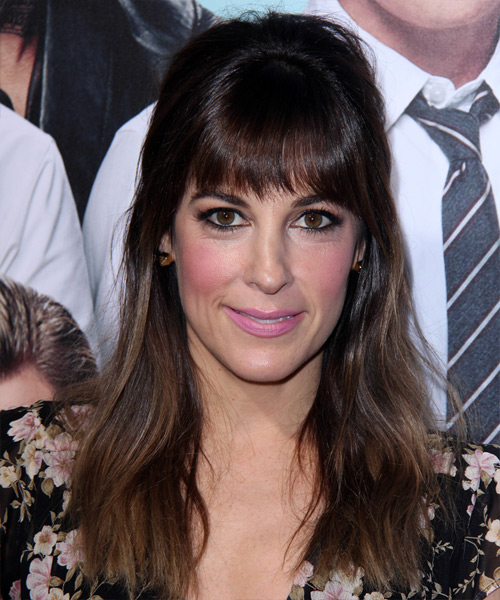 Lindsay Sloane Long Straight Casual  Half Up Hairstyle with Layered Bangs  - Dark Brunette