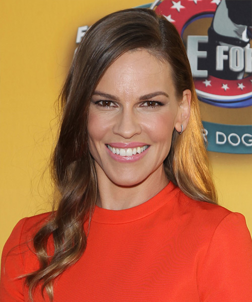 Hilary Swank Long Wavy Casual   Hairstyle   - Medium Brunette (Chocolate)