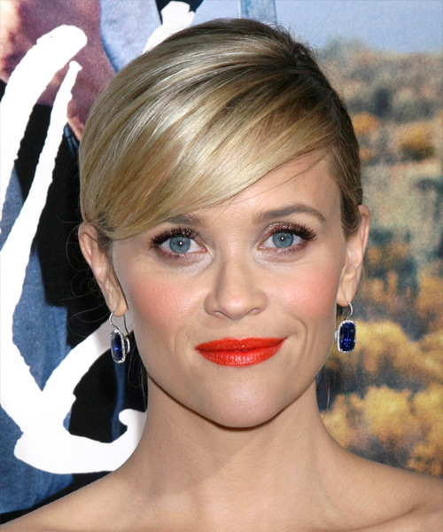 Reese Witherspoon Long Straight Formal Wedding Updo Hairstyle   - Medium Blonde (Golden)
