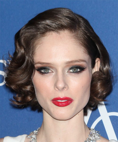 Coco Rocha Short Wavy Formal    Hairstyle   - Medium Brunette Hair Color