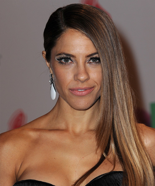 Debi Nova Long Straight Side Parted Hairstyle