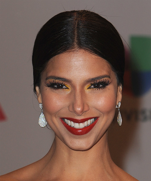 Roselyn Sanchez Long Straight Formal Wedding Updo Hairstyle   - Black