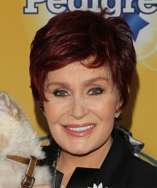 Sharon Osbourne Short Straight Casual   Hairstyle with Side Swept Bangs  - Dark Red