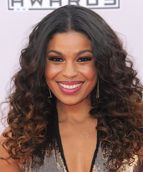 Jordin Sparks Long Curly Formal   Hairstyle   - Dark Brunette