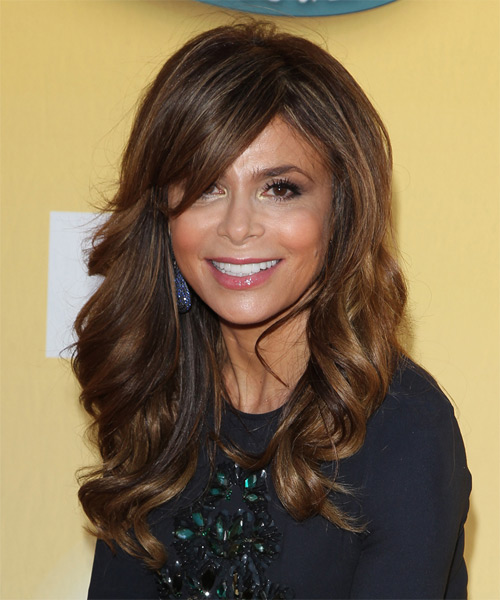 Paula Abdul Long Wavy Formal    Hairstyle with Side Swept Bangs  - Mocha Hair Color