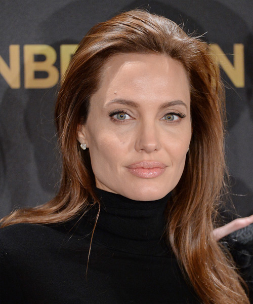 Angelina Jolie Long Straight Casual    Hairstyle   -  Chocolate Brunette Hair Color