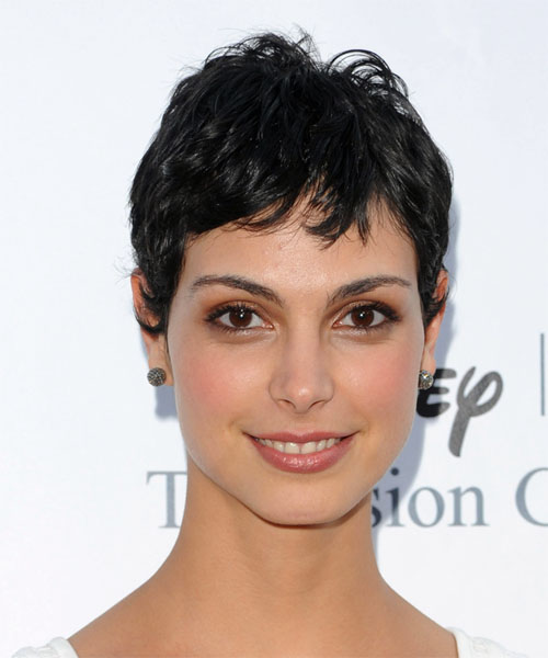 Morena Baccarin Short Wavy Casual   Hairstyle with Layered Bangs  - Black