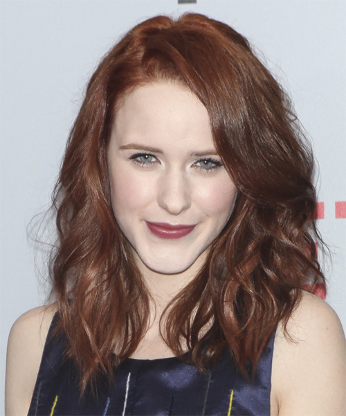 Rachel Brosnahan Medium Wavy Casual    Hairstyle   -  Mahogany Brunette Hair Color