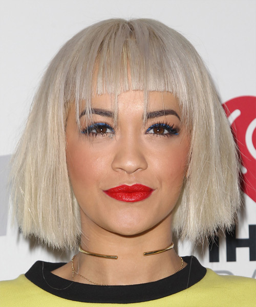 Rita Ora Medium Straight   Light Blonde Bob  Haircut with Blunt Cut Bangs