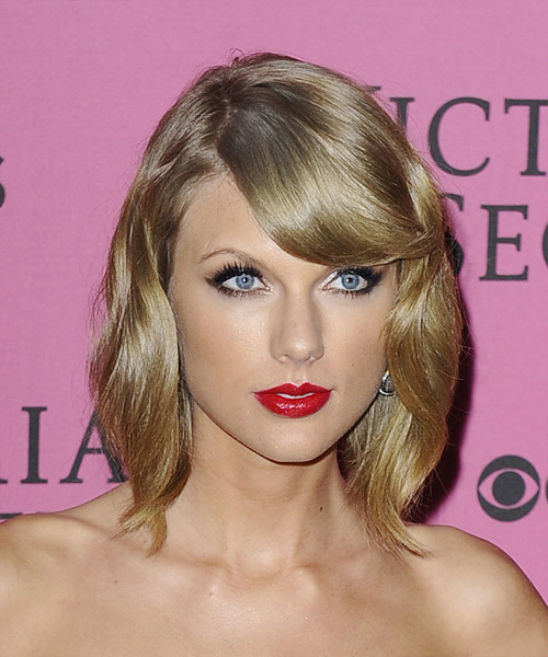 Taylor Swift Medium Wavy Formal    Hairstyle with Side Swept Bangs  - Ash Hair Color