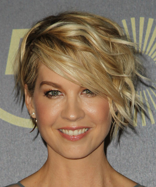 Jenna Elfman Short Wavy Formal    Hairstyle   - Dark Golden Blonde Hair Color with Light Blonde Highlights