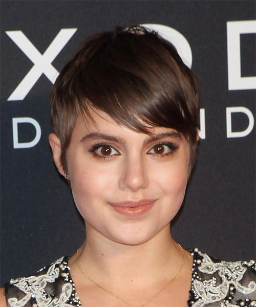 Sami Gayle Short Straight Casual    Hairstyle with Side Swept Bangs  - Chocolate Hair Color