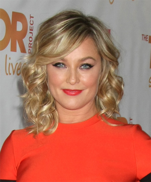 Elisabeth Rohm Medium Wavy Formal    Hairstyle with Side Swept Bangs  - Medium Blonde Hair Color with Light Blonde Highlights