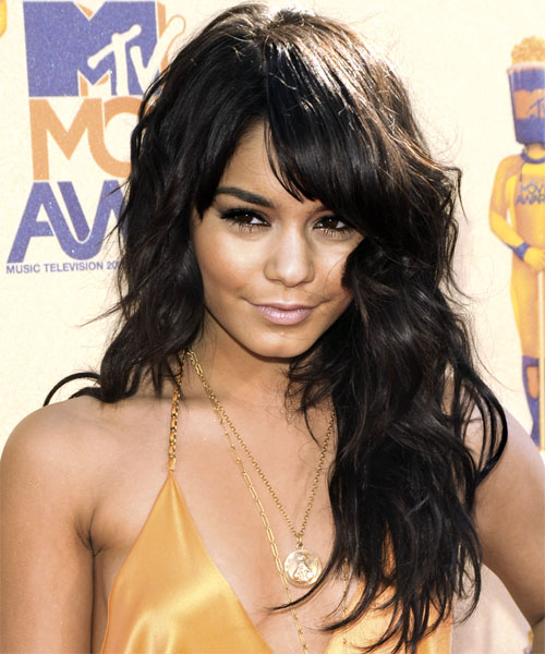 Vanessa Hudgens Long Wavy Casual    Hairstyle with Layered Bangs  - Black  Hair Color