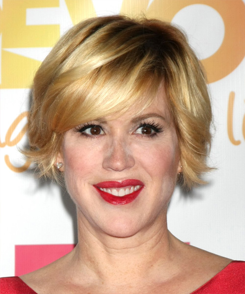 Molly Ringwald Short Straight Casual    Hairstyle with Side Swept Bangs  -  Golden Blonde Hair Color