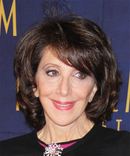 Andrea Martin Medium Straight Casual    Hairstyle with Side Swept Bangs  - Dark Mocha Brunette Hair Color