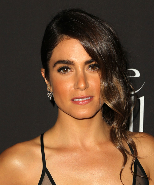 Nikki Reed Long Wavy Formal  Half Up Hairstyle   - Dark Brunette