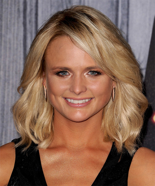Miranda Lambert Medium Wavy Casual    Hairstyle   -  Golden Blonde Hair Color with Light Blonde Highlights